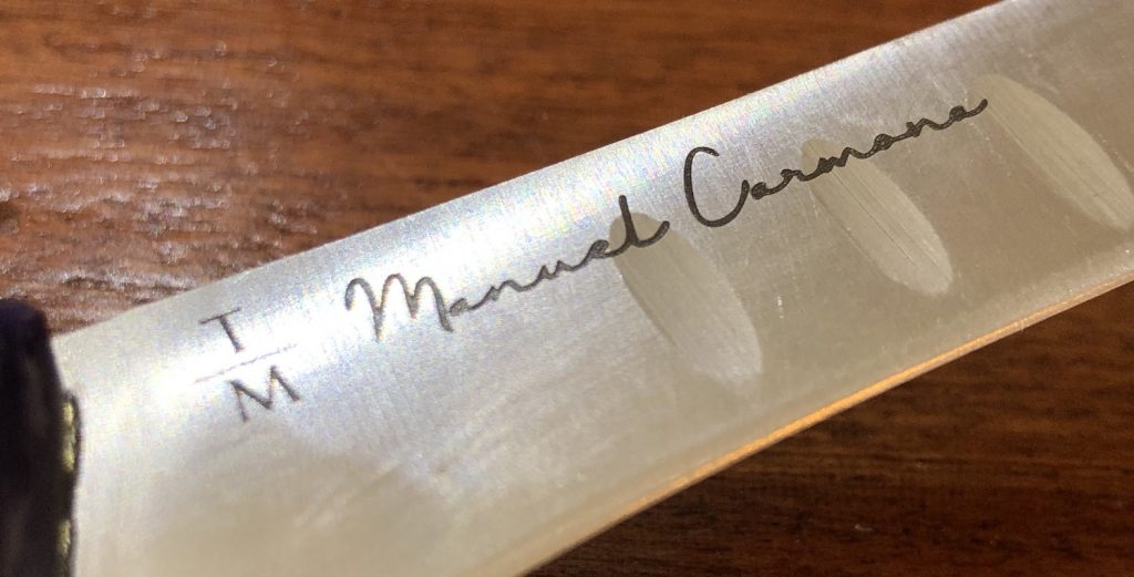 Cuchillo para el curso de corte de jamón de Manuel Carmona